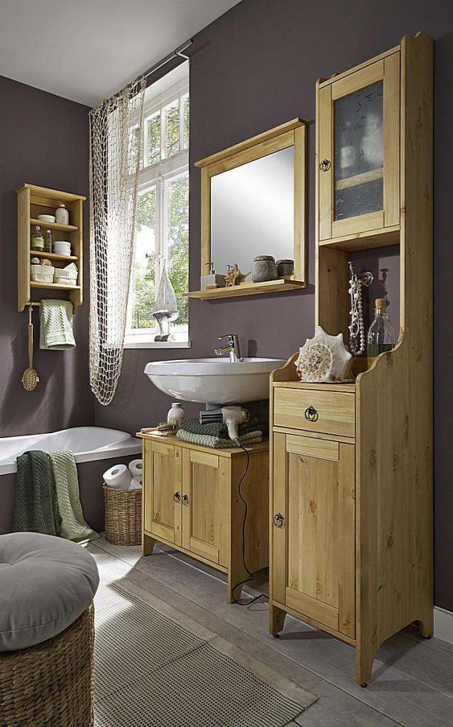 bad hochschrank 41x198x42cm 1 milchglast r 1 holzt r 1 schublade kiefer massiv. Black Bedroom Furniture Sets. Home Design Ideas