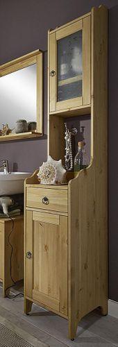 Bad-Hochschrank Kiefer gelaugt geölt / weiß Badschrank Holz massiv – Bild 1