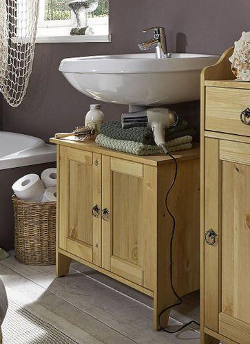 Waschtisch-Unterschrank Kiefer gelaugt geölt Waschbeckenschrank Holz massiv – Bild 1