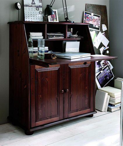 Sekretär Kiefer massiv mit 2 Türen Schreibtisch im Landhausstil – Bild 1