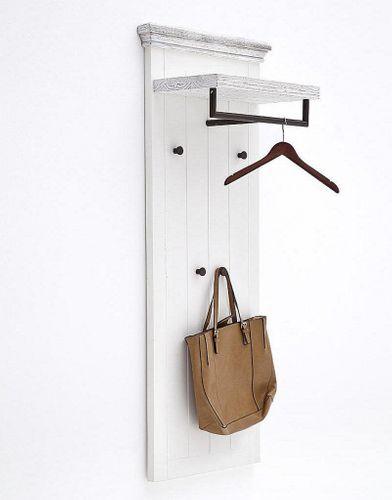 Garderobenpaneel Recycling-Kiefer  weiß vintage Garderobe shabby-chic – Bild 1