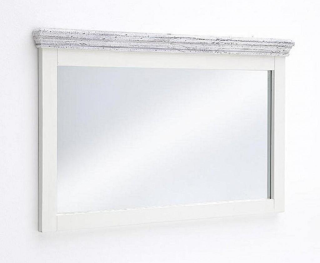 Massivholz Spiegel 124x75 Recycling-Kiefer Flurspiegel antik weiss
