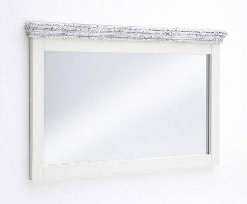 Wandspiegel 124x75 Recycling-Kiefer massiv weiß vintage Flurspiegel – Bild 1