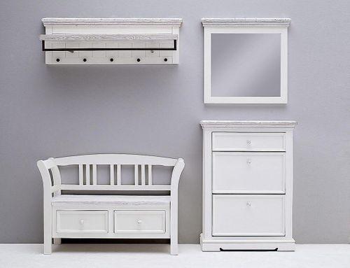 Dielen-Set 4teilig Recycling-Kiefer weiß vintage Dielenmöbel shabby-chic – Bild 3