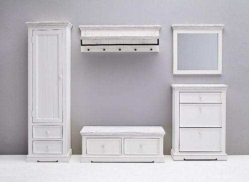 Dielen-Set 5teilig Recycling-Kiefer weiß vintage Dielenmöbel shabby-chic – Bild 4