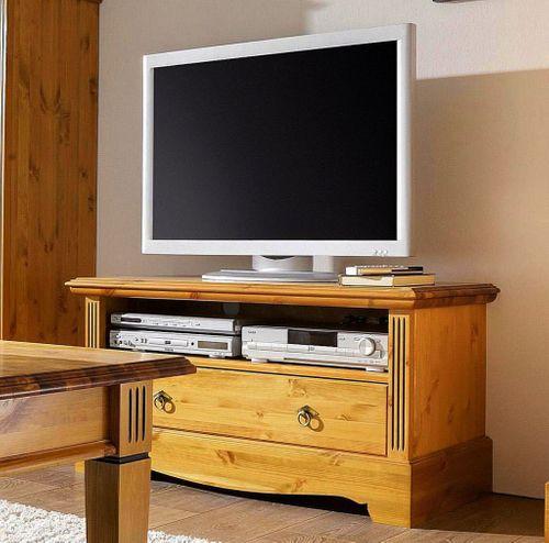 TV-Kommode 111x55x47cm Lowboard 1 Schublade Kiefer goldbraun lackiert honigfarben – Bild 1