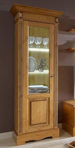 Vitrine links Kiefer Wohnzimmervitrine goldbraun lackiert honigfarben – Bild 1
