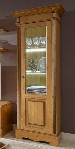 Vitrine rechts Kiefer Wohnzimmervitrine goldbraun lackiert honigfarben – Bild 1