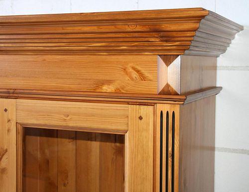 Vitrine rechts Kiefer Wohnzimmervitrine goldbraun lackiert honigfarben – Bild 2