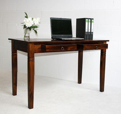 Bürotisch 130x64 Vollholz Computertisch PC-Tisch Schreibtisch braun nussbaum Farbe massiv – Bild 1