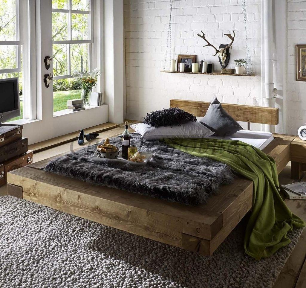 Schwebebett 180x200 Doppelbett Bett Kiefer massiv Holz Unikat antik – Bild 1
