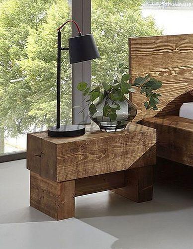 Nachttisch 200x200 Nachtkonsole Kiefer massiv Holz Unikat antik – Bild 1
