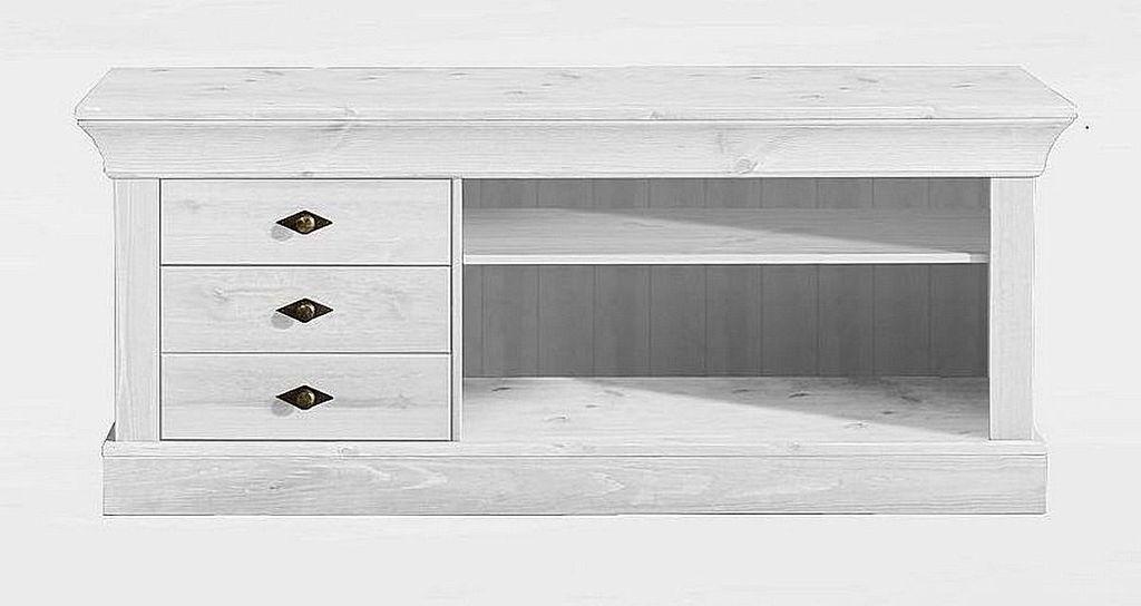 wohnwand 3teilig lowboard vitrine schrank kiefer massiv wei lasiert. Black Bedroom Furniture Sets. Home Design Ideas