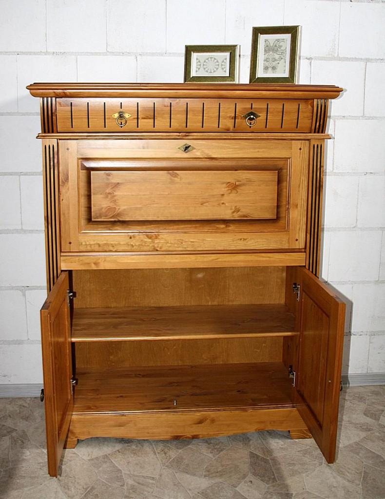Sekretär Kiefer Computerschrank goldbraun lackiert Schreibschrank honigfarben – Bild 3