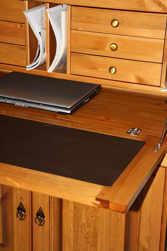 Sekretär Kiefer Computerschrank goldbraun lackiert Schreibschrank honigfarben – Bild 4