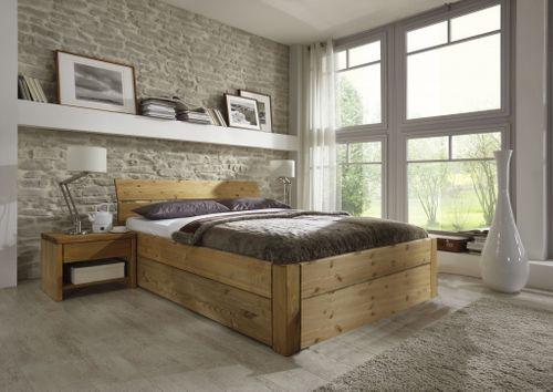 Schubladenbett 140x200 Seniorenbett Komforthöhe Vollholz Kiefer massiv gelaugt geölt – Bild 2