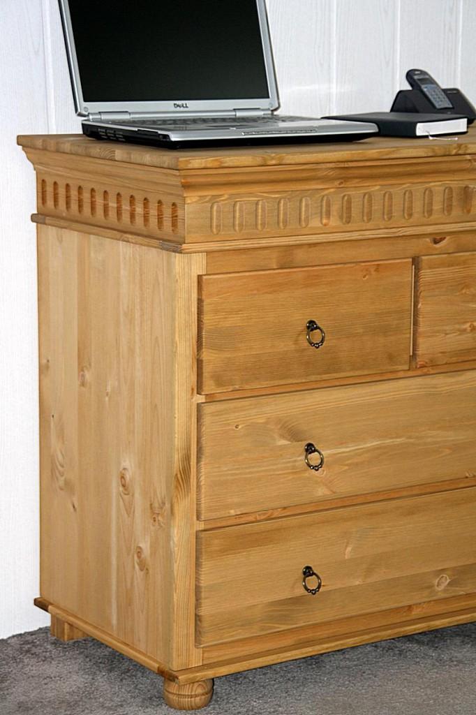 kommode 95x87x50cm 2 2 schubladen kiefer massiv gelaugt ge lt. Black Bedroom Furniture Sets. Home Design Ideas