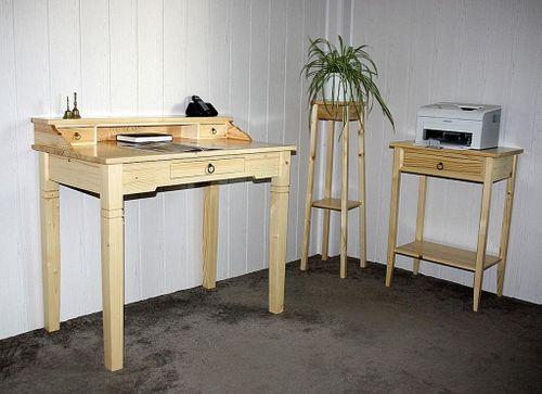 Laptop-Tisch Massivholz natur lackiert Beistelltisch Nachtkonsole – Bild 7