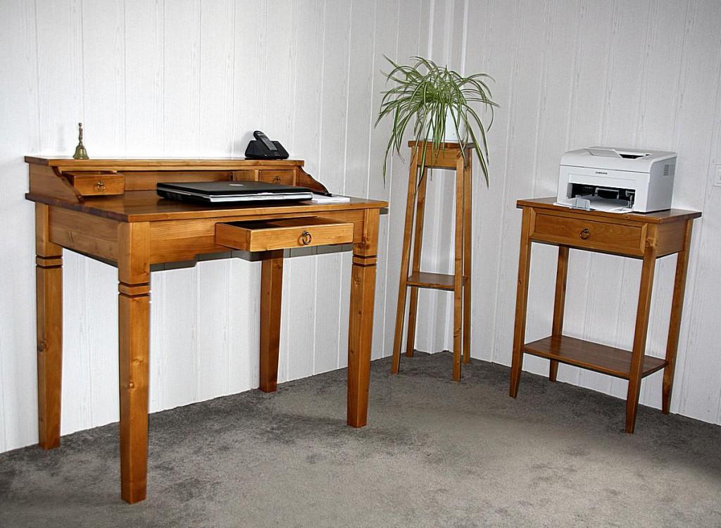 Massivholz Computertisch Bürotisch Sekretär Honigfarbe  – Bild 10