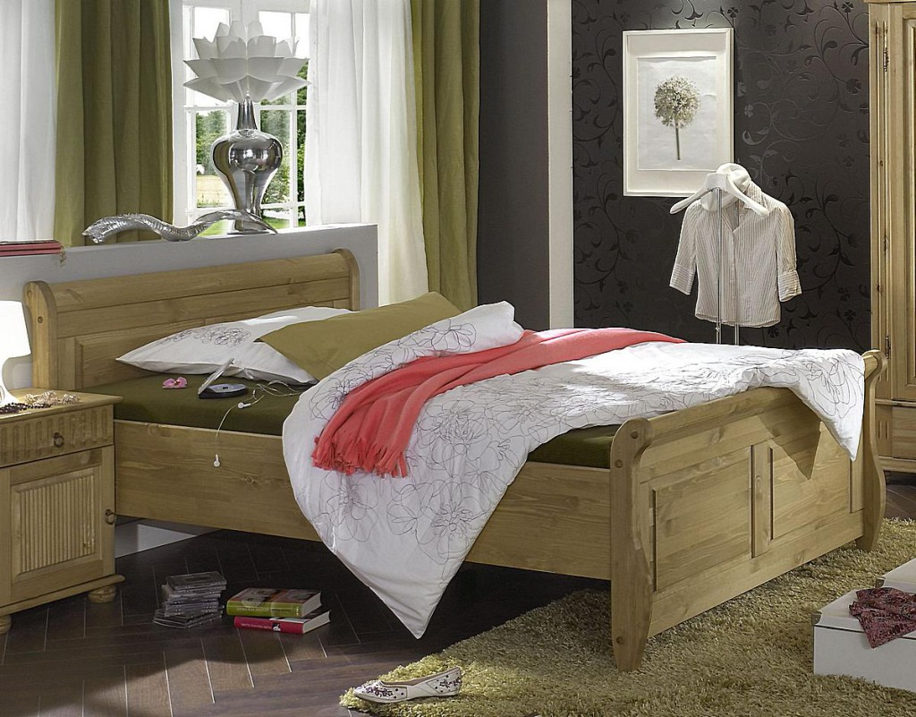 doppelbett 140x200 kiefer massiv gelaugt ge lt. Black Bedroom Furniture Sets. Home Design Ideas