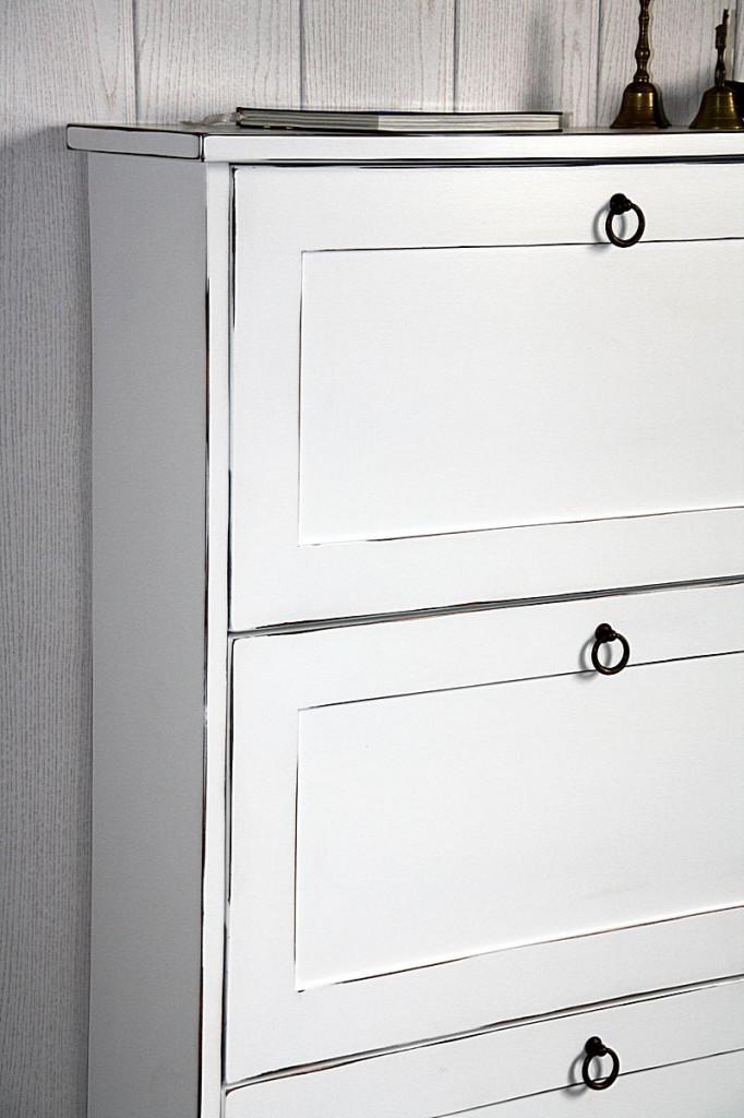 schuhkommode 76x108x19cm mit 3 klappen pappel massiv. Black Bedroom Furniture Sets. Home Design Ideas