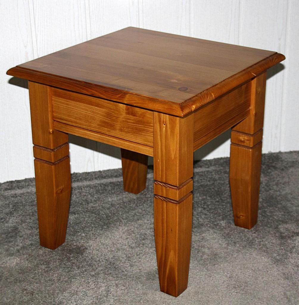 Massivholz Couchtisch Beistelltisch 45x46x45cm, Honigfarbe
