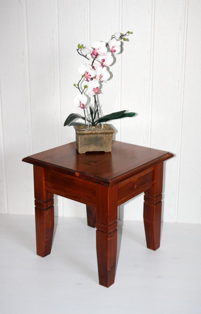 Massivholz Couchtisch 45x46x45cm Kirschbaumfarben Lackiert