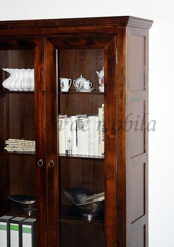 Vitrinenschrank DECOR 98x178x37cm Massivholz nussbaumfarben Vitrine – Bild 5