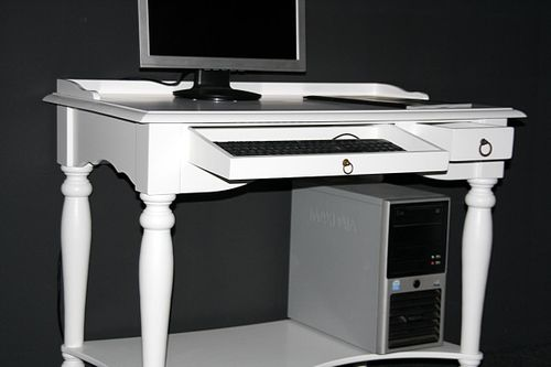 Massivholz Sekretär Bürotisch Schreibtisch PC Tisch weiß – Bild 6