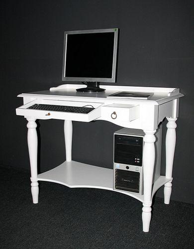 Sekretär weiß mit Tastaturauszug Bürotisch massiv Schreibtisch PC-Tisch 100 cm breit – Bild 3