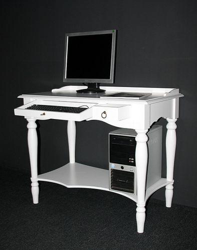 Massivholz Sekretär Bürotisch Schreibtisch PC Tisch weiß – Bild 4