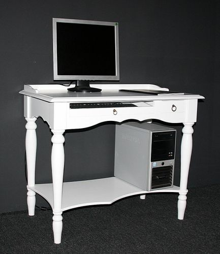 Sekretär VARESE 100x80x60cm Massivholz weiß Konsolentisch lackiert  – Bild 1