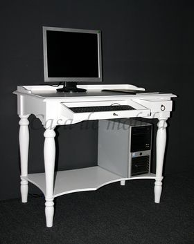 Sekretär 100x80x60cm, Tastaturauszug, Schublade, Ablageboden, Pappel massiv weiß lackiert