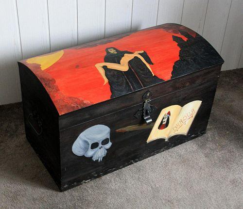 Deko-Truhe Vampir-Motiv Holztruhe massiv Halloween – Bild 4