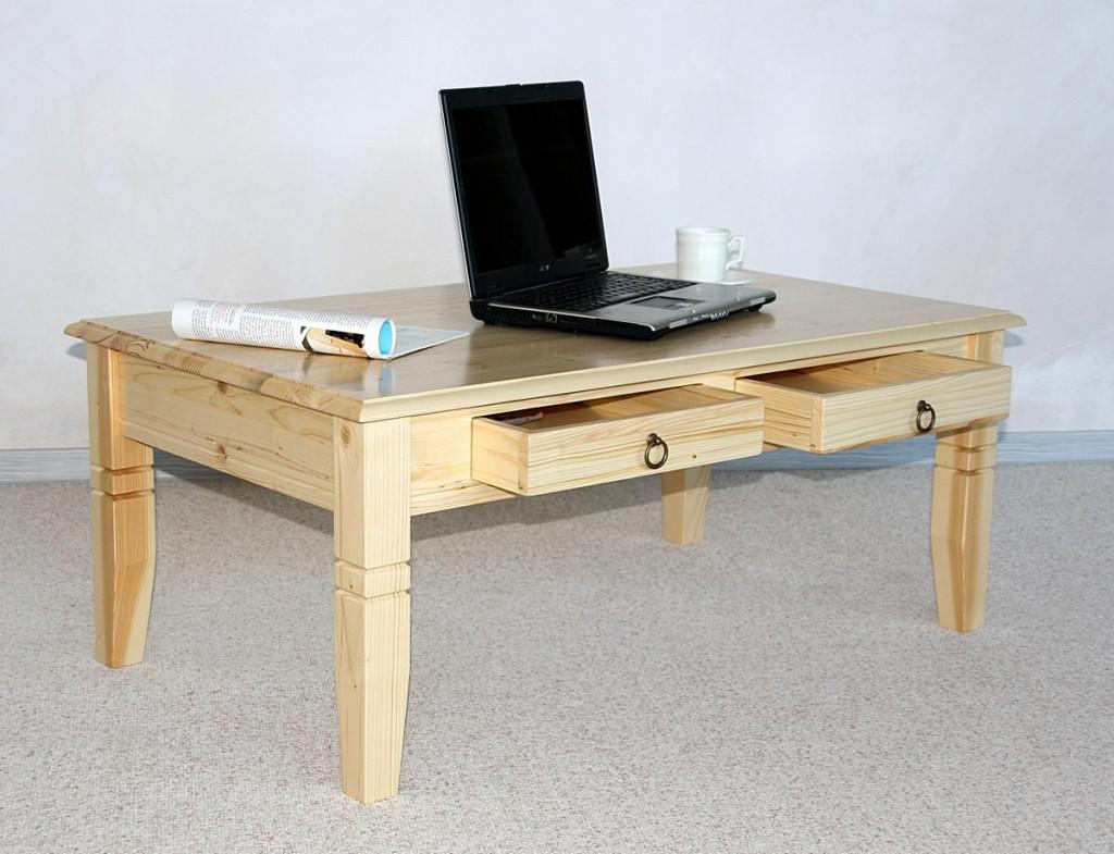 couchtisch 110x46x65cm 2 schubladen tischplatte abgerundet fichte massiv natur lackiert. Black Bedroom Furniture Sets. Home Design Ideas
