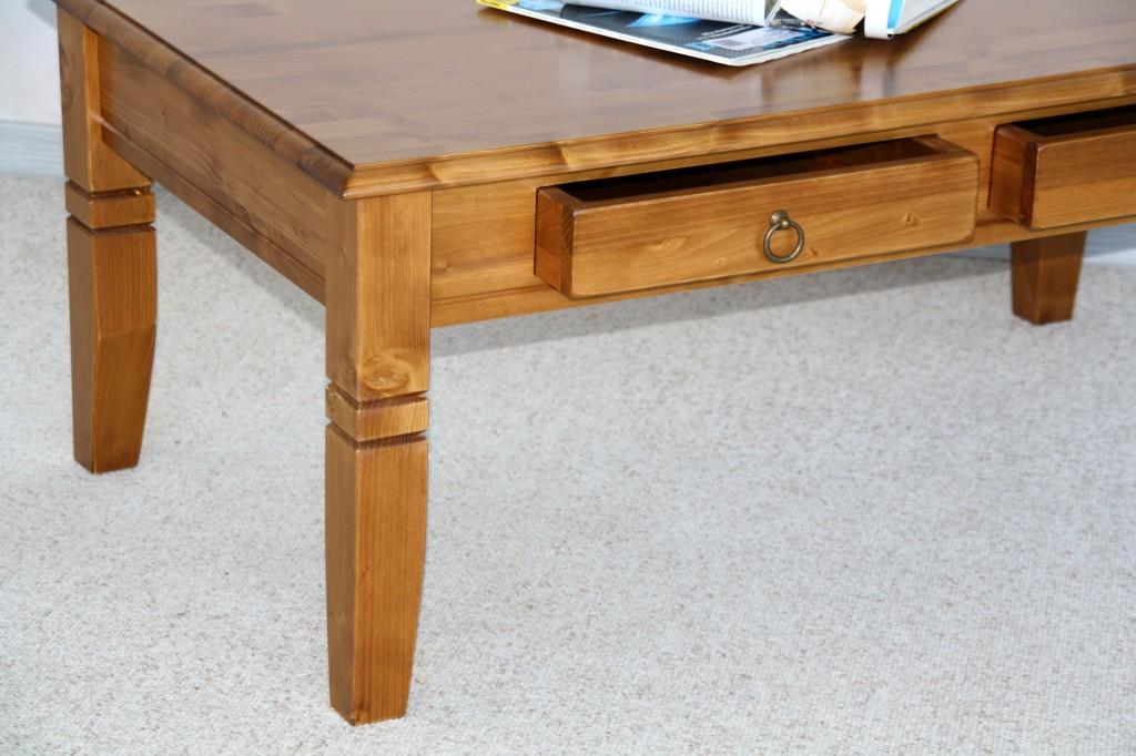 couchtisch 110x46x65cm 2 schubladen tischplatte abgerundet fichte massiv honigfarben lackiert. Black Bedroom Furniture Sets. Home Design Ideas