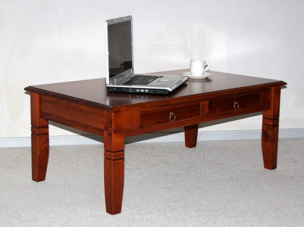 Couchtisch 110x46x65cm, 2 Schubladen, Tischplatte abgerundet, Fichte ...