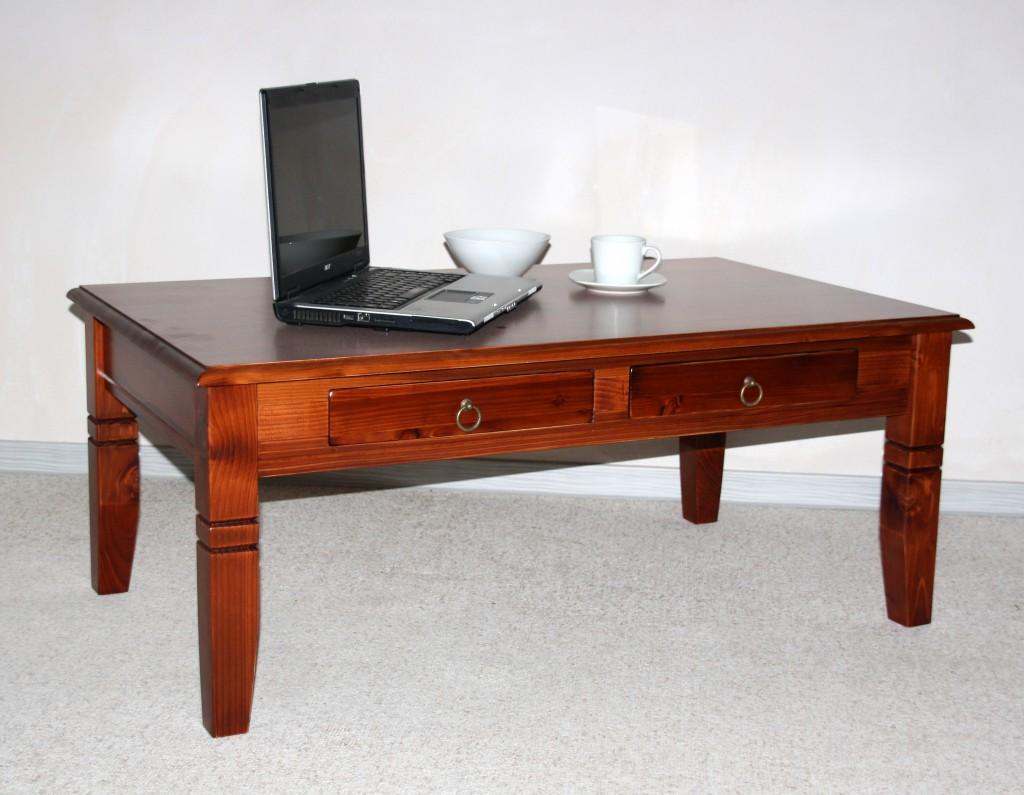 couchtisch 110x46x65cm 2 schubladen tischplatte abgerundet fichte massiv kirschbaumfarben. Black Bedroom Furniture Sets. Home Design Ideas