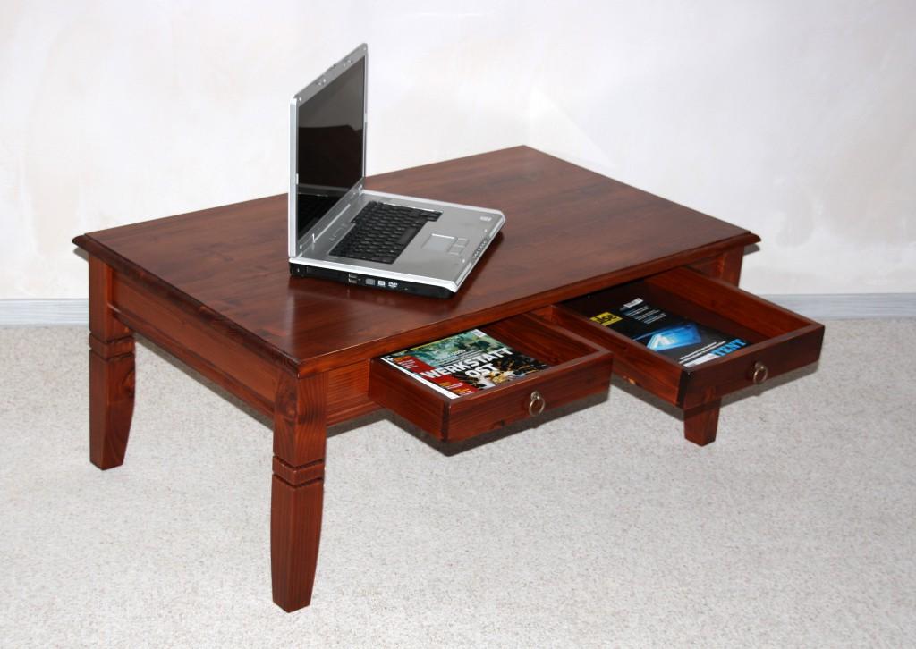 Couchtisch 110x46x65cm 2 Schubladen Tischplatte Abgerundet Fichte