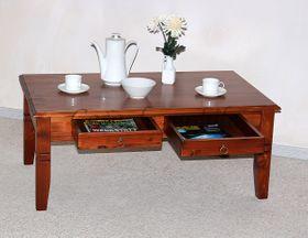 Couchtisch 110x46x65cm, 2 Schubladen, Tischplatte abgerundet, Fichte massiv kirschbaumfarben lackiert