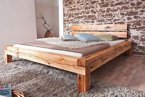 Bett 160x200 Balkenbett Vollholz Rustikal Doppelbett Wildeiche massiv geölt – Bild 1