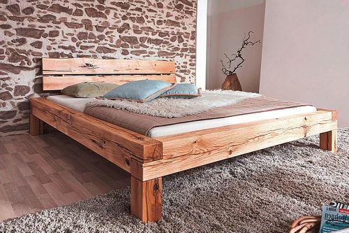 Bett 160x200 Balkenbett Vollholz Rustikal Doppelbett Wildeiche massiv geölt – Bild 2