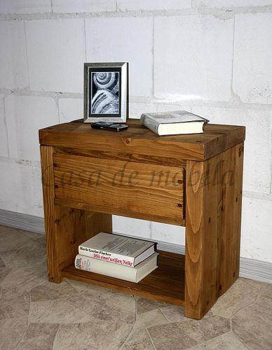 Nachtkommode Kiefer massiv natur gewachst Nachtschrank Holz Unikat antik – Bild 1