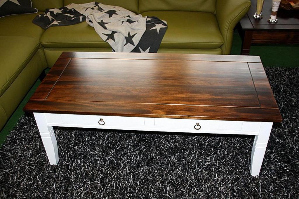 couchtisch 130x45x64cm 2 schubladen pappel massiv 2farbig wei nussbaumfarben lackiert. Black Bedroom Furniture Sets. Home Design Ideas