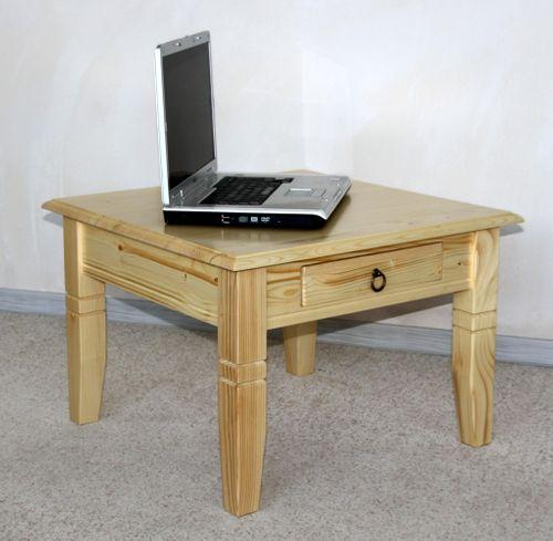 Couchtisch Beistelltisch natur lackiert Sofatisch Tisch 65x65cm mit Schublade – Bild 1