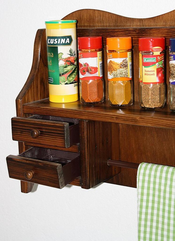 Küchenrollenhalter kolonial 2 Schubladen Küchenregal