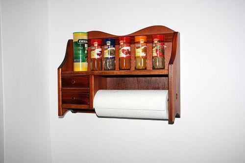 Küchenrollen-Halter DECOR kirschbaumfarben Geschirrtuchhalter rotbraun massiv – Bild 1