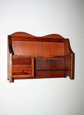 Geschirrtuchhalter 44x32x12cm, 2 Schubladen, Fichte massiv kirschbaumfarben lackiert