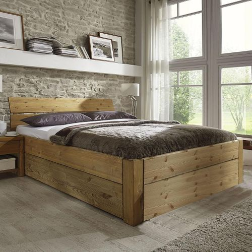 Schubladenbett 120x200 Seniorenbett Komforthöhe Vollholz Kiefer massiv gelaugt geölt – Bild 1