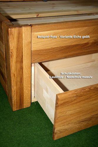 Schubladenbett 120x200 Seniorenbett Komforthöhe Vollholz Kiefer massiv gelaugt geölt – Bild 8